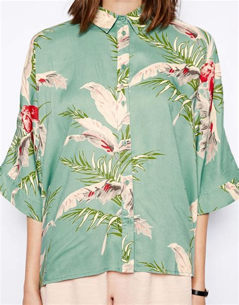 hawaiian print blouses lyst asos tropical floral print sleeve kimono