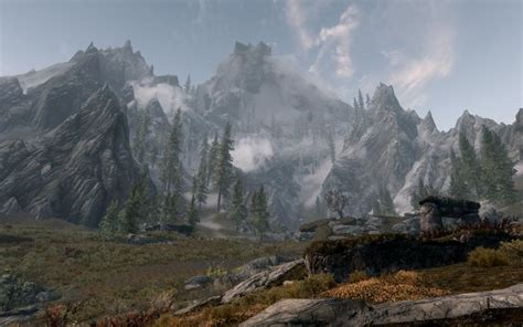 hd skyrim mountain wallpaper