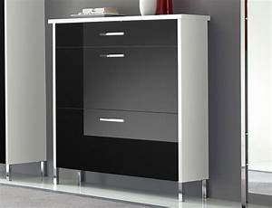 Meuble Chaussure Noir : meuble chaussure noir et blanc ~ Teatrodelosmanantiales.com Idées de Décoration