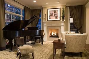 Grand piano putting in elegant living room interior design for Interior decorating dark rooms