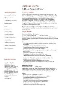 resume for administration office administrator resume exles cv sles templates duties administrative assistant