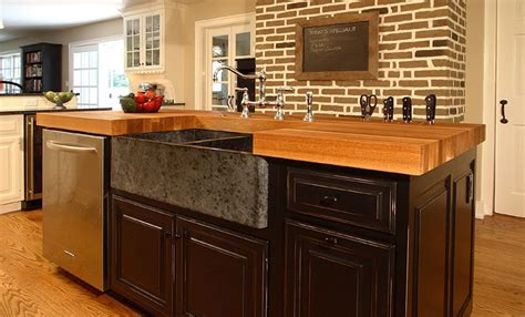 kitchen cabinets with island 3 inch white oak wood countertop in light brown color with 6473