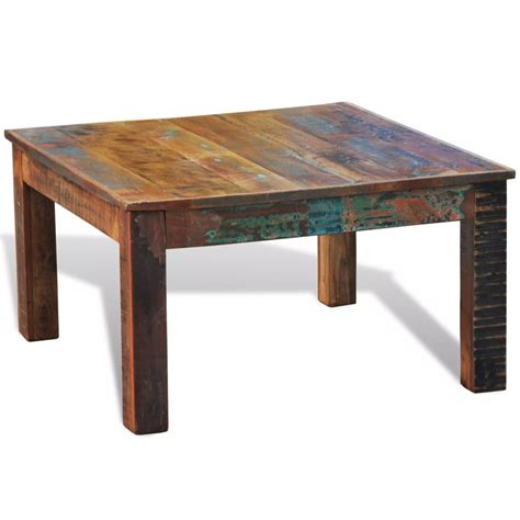 Reclaimed Wood Coffee Table Square Antiquestyle Vidaxlcom
