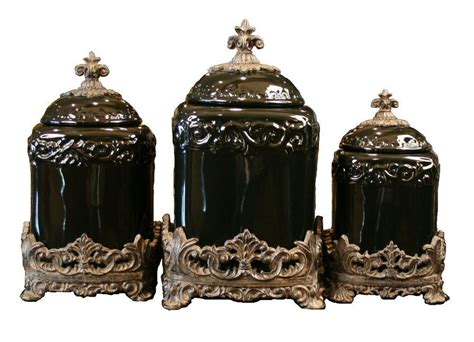 fleur de lis kitchen canisters set of 3 black onyx fleur de lis kitchen canisters set