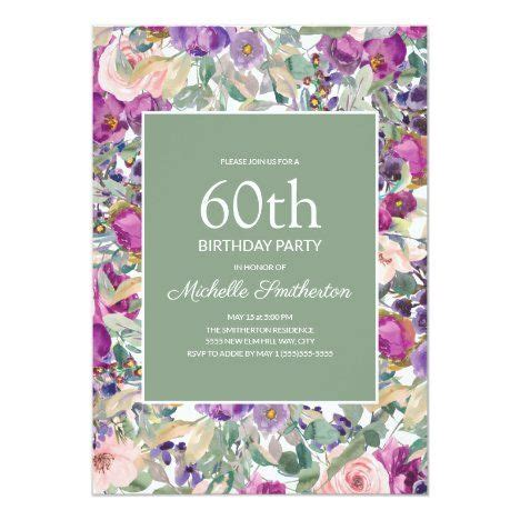 Purple Blush Pink Floral Sage Green 60th Birthday
