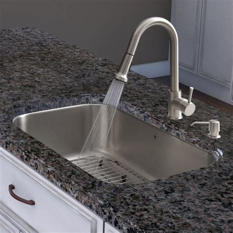 kitchen sink with faucet set shop vigo all in one 30 quot eldridge stainless steel 8574