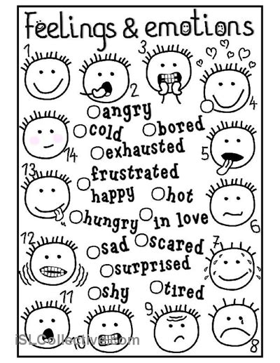 feelings  emotions matching worksheet  esl