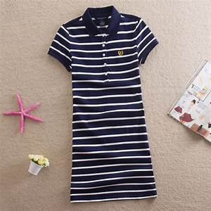 embroidery striped polo 2016 print party casual dresses de With robe t shirt femme
