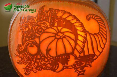 thanksgiving pumpkin carving  cornucopia design nita