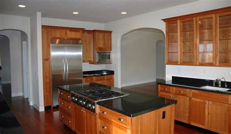 kitchen with absolute black granite countertops