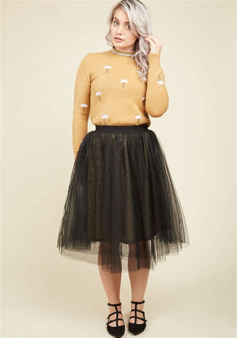 gold stomping grounds tulle skirt modcloth