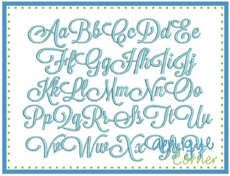 applique corner sunday script embroidery font