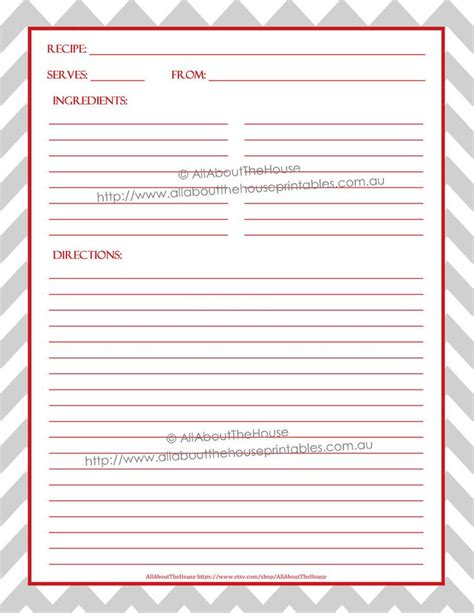 Recipe Template Printable Recipe Binder Cover Editable Recipe Sheet
