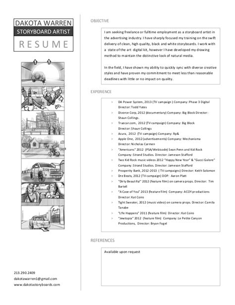 Storyboard Resume by Storyboard Resume 2013 3