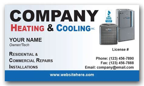 heating air conditioning company business card air