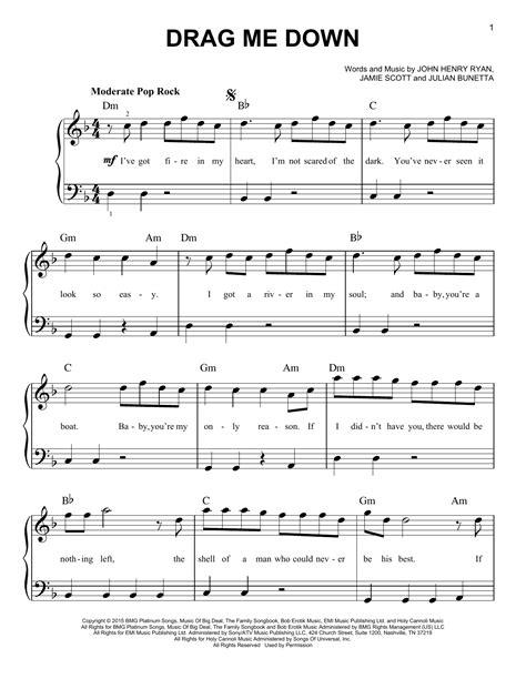 drag me down not angka drag me down sheet music direct