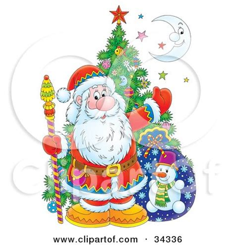kris kringle trees clipart illustration of kris kringle posed with a tree sack colorful and a