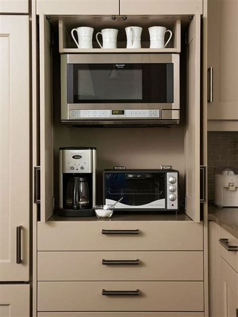 *appliance cabinet. enclosed microwave and toaster oven