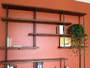 Deco Murale Industrielle : tag re industrielle bois m tal meuble de style industriel bois et acier sur mesure micheli ~ Teatrodelosmanantiales.com Idées de Décoration