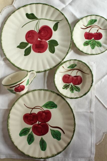 vintage blue ridge pottery hand painted china dishes red