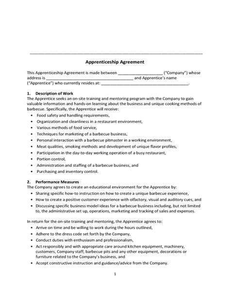 Apprenticeship Contract Template Apprenticeship Agreement Form 6 Free Templates In Pdf