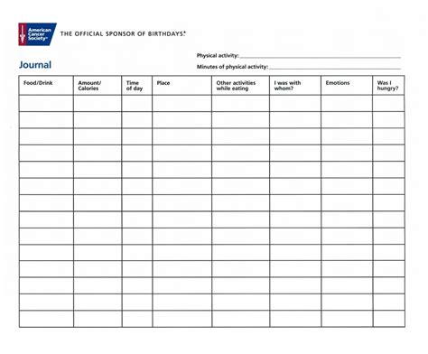 weekly food diary template  word templates