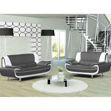 discount canape canapé 3 2 places gris et blanc marita achat vente