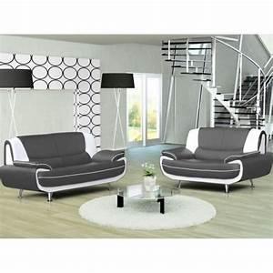 Canapé Blanc Design : ensemble canap 3 2 places gris et blanc design achat ~ Teatrodelosmanantiales.com Idées de Décoration