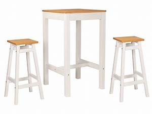 Ensemble Table De Bar 2 Tabourets JOY Coloris Blanc