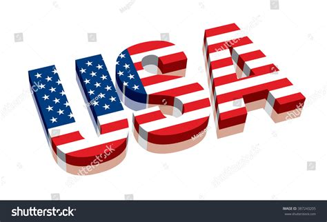 Letter Usa by 3d Usa American Flag Word Text Stock Vector 387243205
