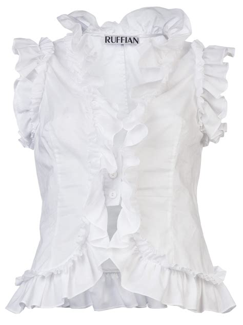 blouse susana ruffian sleeveless ruffle shirt in white lyst