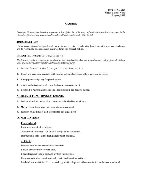 sample of resume with job description cashier job description for resume template resume