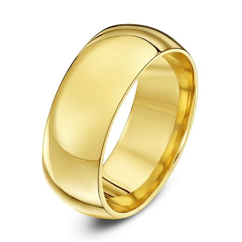 9ct yellow gold heavy weight court shape 8mm wedding ring