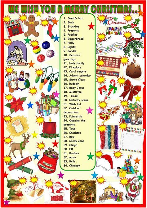 christmas vocabulary english esl worksheets  distance