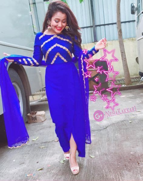 Beautiful Hot Neha Kakkar In Blue Dress Western Dresses