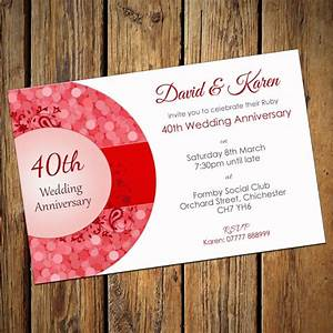 ruby wedding invitation cards With ruby wedding invitations with photo