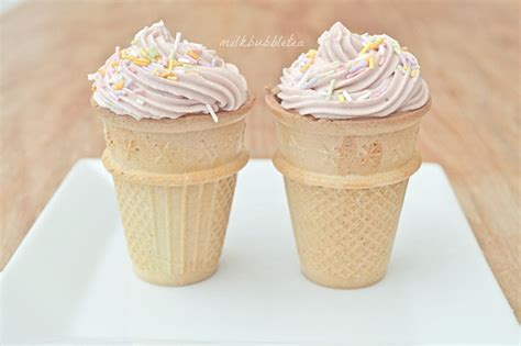 ice cream cone cupcakes milk bubble tea