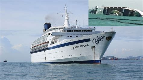 abandoned cruise ship ocean dream sinks in laem chabang