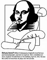 Shakespeare William Coloring Pages Crayola Midsummer Dream Hamlet Avon Author Famous Colored Night Playwright Shakespear Quotes Plays Poets Crayon Born sketch template