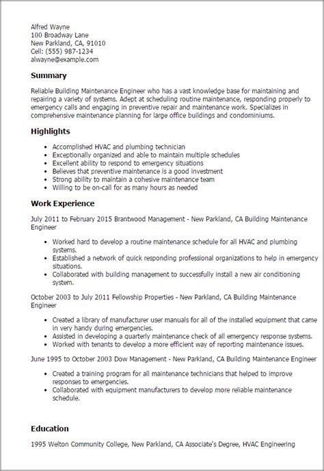 Electrical Maintenance Engineer Resume Word Format by Professional Building Maintenance Engineer Templates To