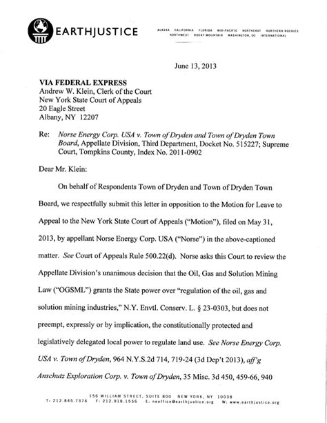 Dryden, NY Letter to NY Court of Appeals on Town Ban Case