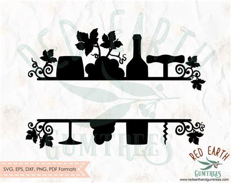 wine split frame svg wine monogram svg split monogram framewine gift decal wine vinyl decal