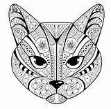 Cat Tribal Face Pattern Coloring Pages Animals категории из раскраски все sketch template
