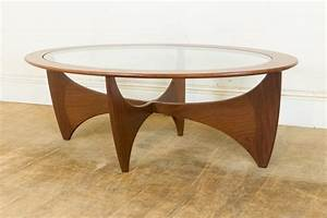 Vintage retro g plan teak and glass astro oval coffee for Oval teak coffee table