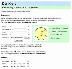 Umfang Berechnen Kreis Online : kreis fl che berechnen simple home design ideen ~ Themetempest.com Abrechnung