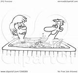 Tub Cartoon Couple Outline Clip Illustration Coloring Template Rf Royalty Pages Sketch sketch template