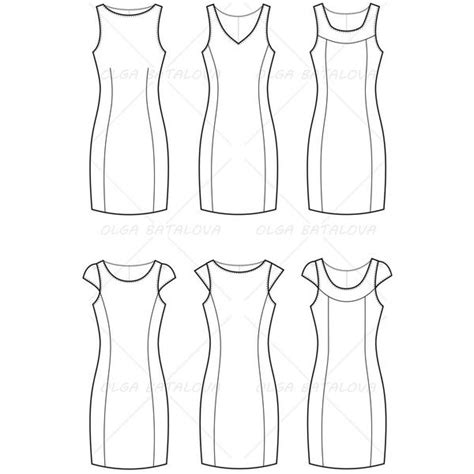 womens fitted dress fashion flat template templates