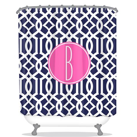 personalized shower curtain lattice print personalized shower curtain navy shower