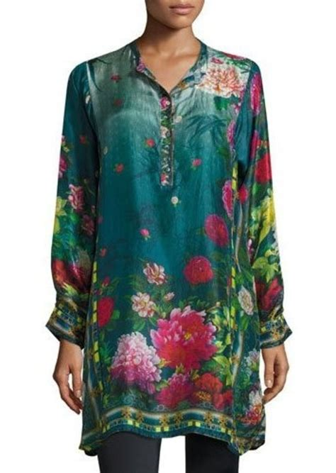 johnny  johnny  heaven long floral print silk tunic
