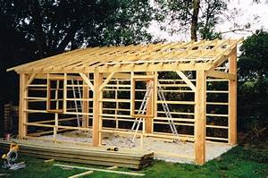 construction garage parpaing plan 16 charpente pente With plan maison en pente 16 construction hangar bois de france